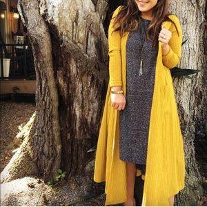 Lularoe yellow sarah long cardigan xs